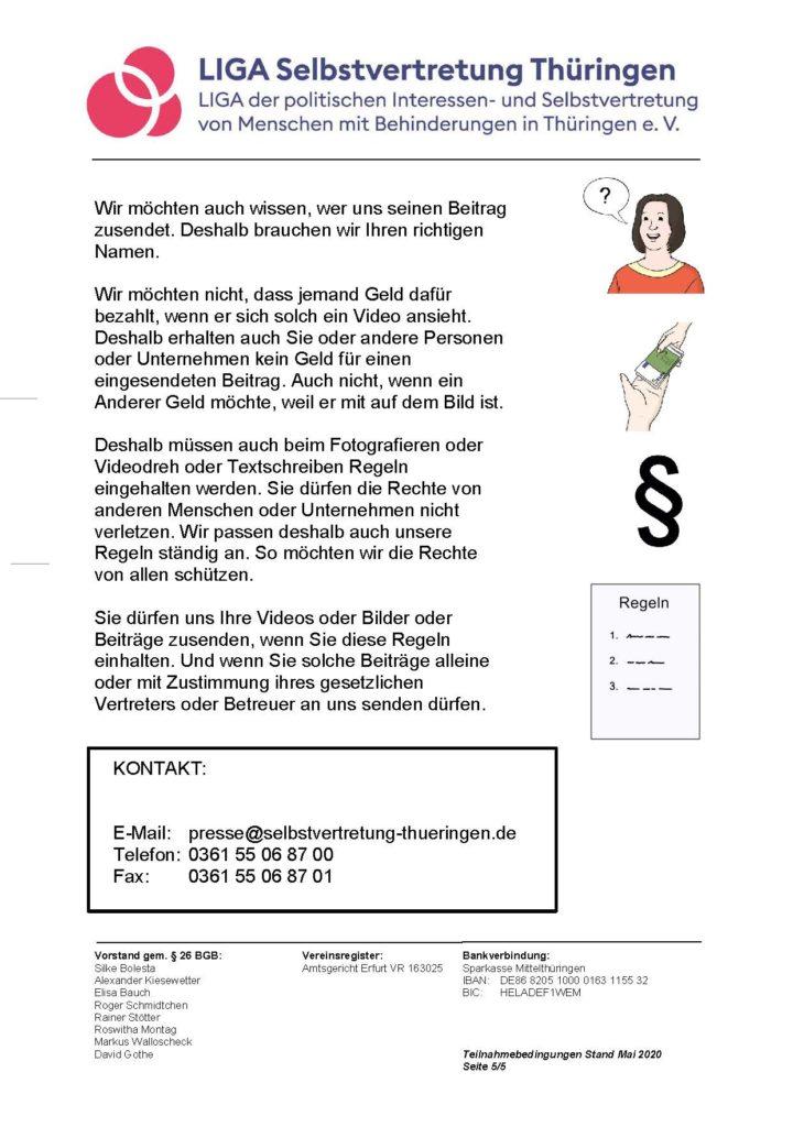 Leichte Sprache: Teilnahmebedingungen und Regeln für das Veröffentlichen Ihrer Beiträge